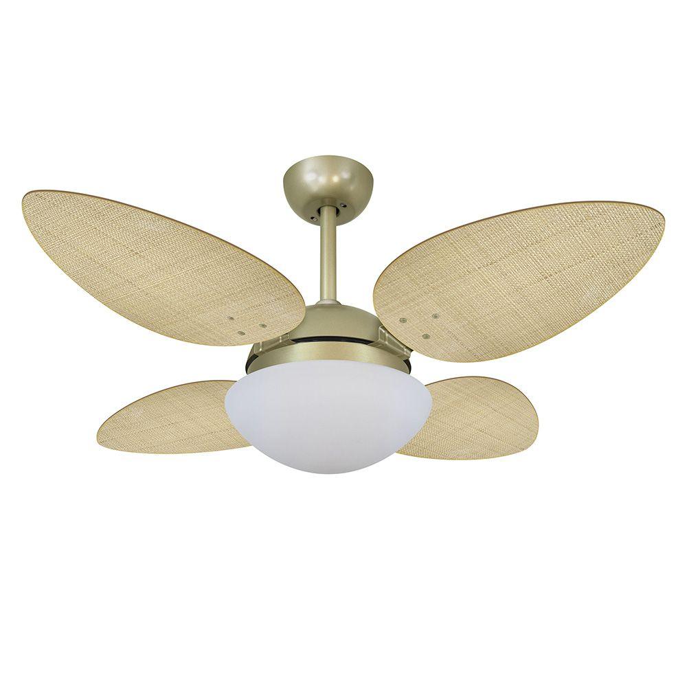 Ventilador de Teto Volare Gold VD42 Pétalo Palmae 4 Pás Natural
