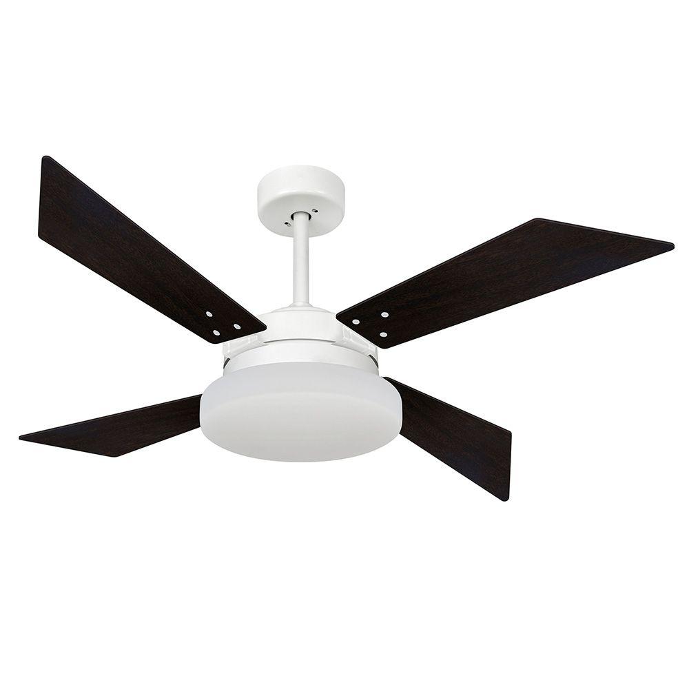 Ventilador de Teto Volare VD50 Tech Branco Fosco 4 Pás Tabaco