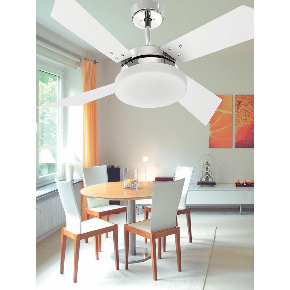 Ventilador de Teto Volare VD50 Tech Cromo 4 Pás Branco
