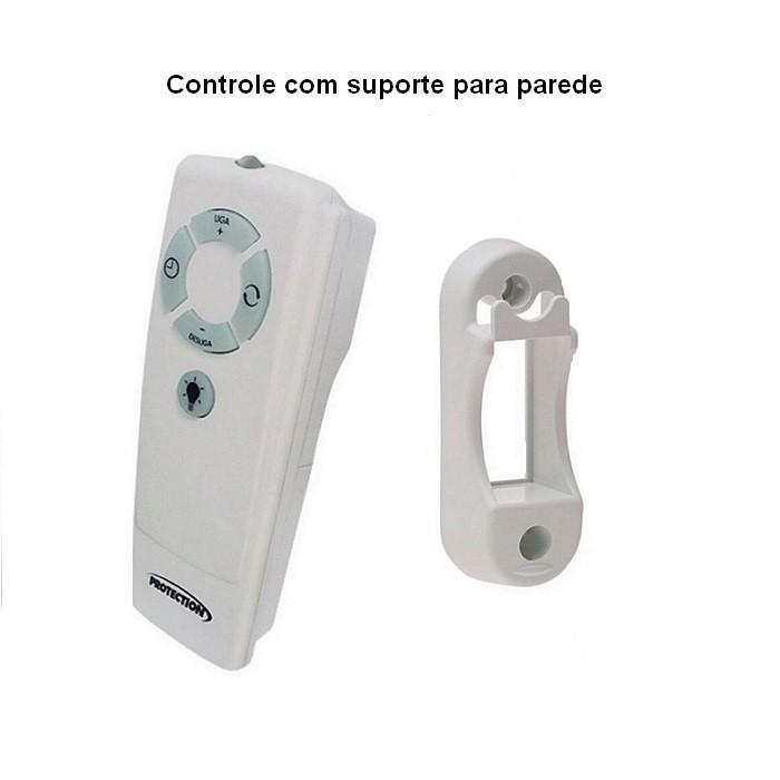 Ventilador de Teto com Controle Remoto Yris 150w e 180w Branco Pás Mogno Ventex