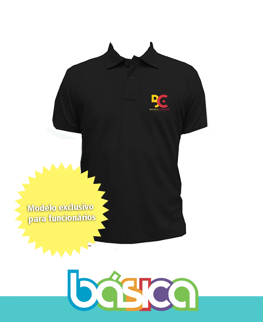 Camisa Polo Preta - Colégio Brasil Canadá  - BÁSICA UNIFORMES