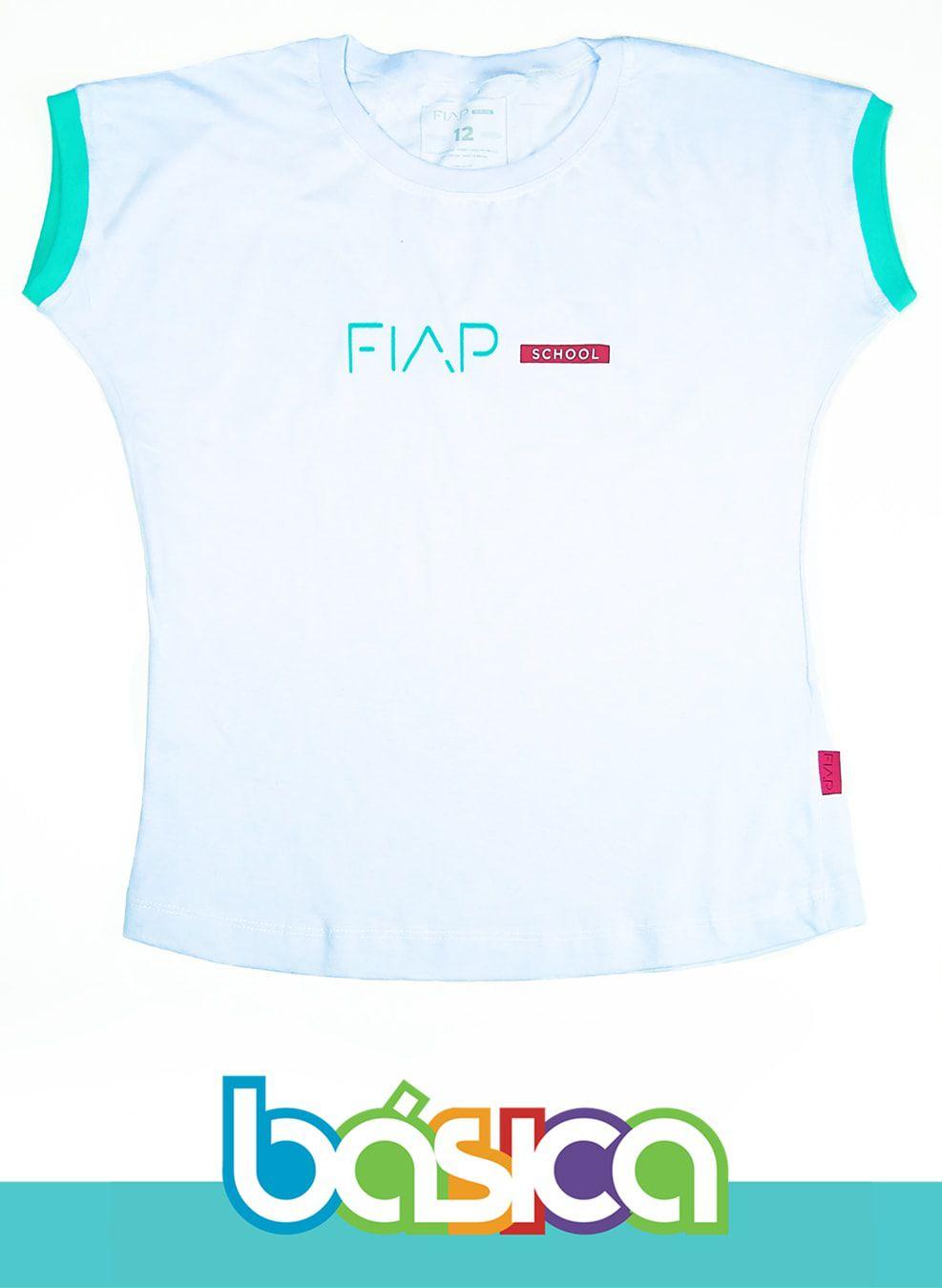 Camiseta M/C Feminina Branca FIAP SCHOOL  - BÁSICA UNIFORMES
