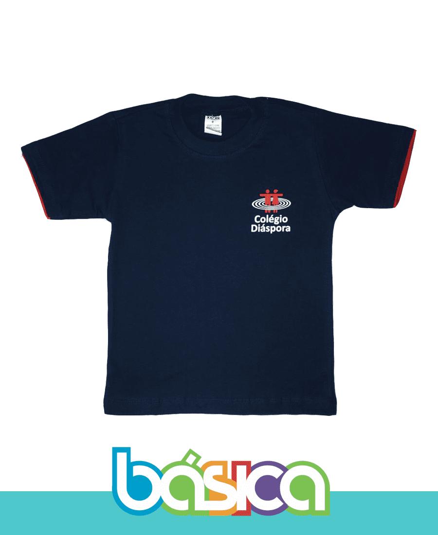 Camiseta Manga Curta Az. Marinho - Colégio Diáspora  - BÁSICA UNIFORMES