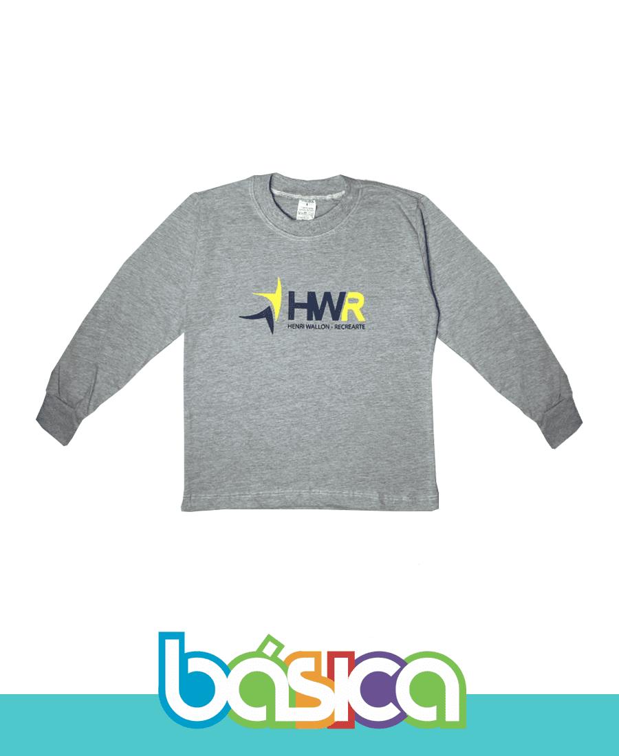 Camiseta Manga Longa Cinza HWR  - BÁSICA UNIFORMES
