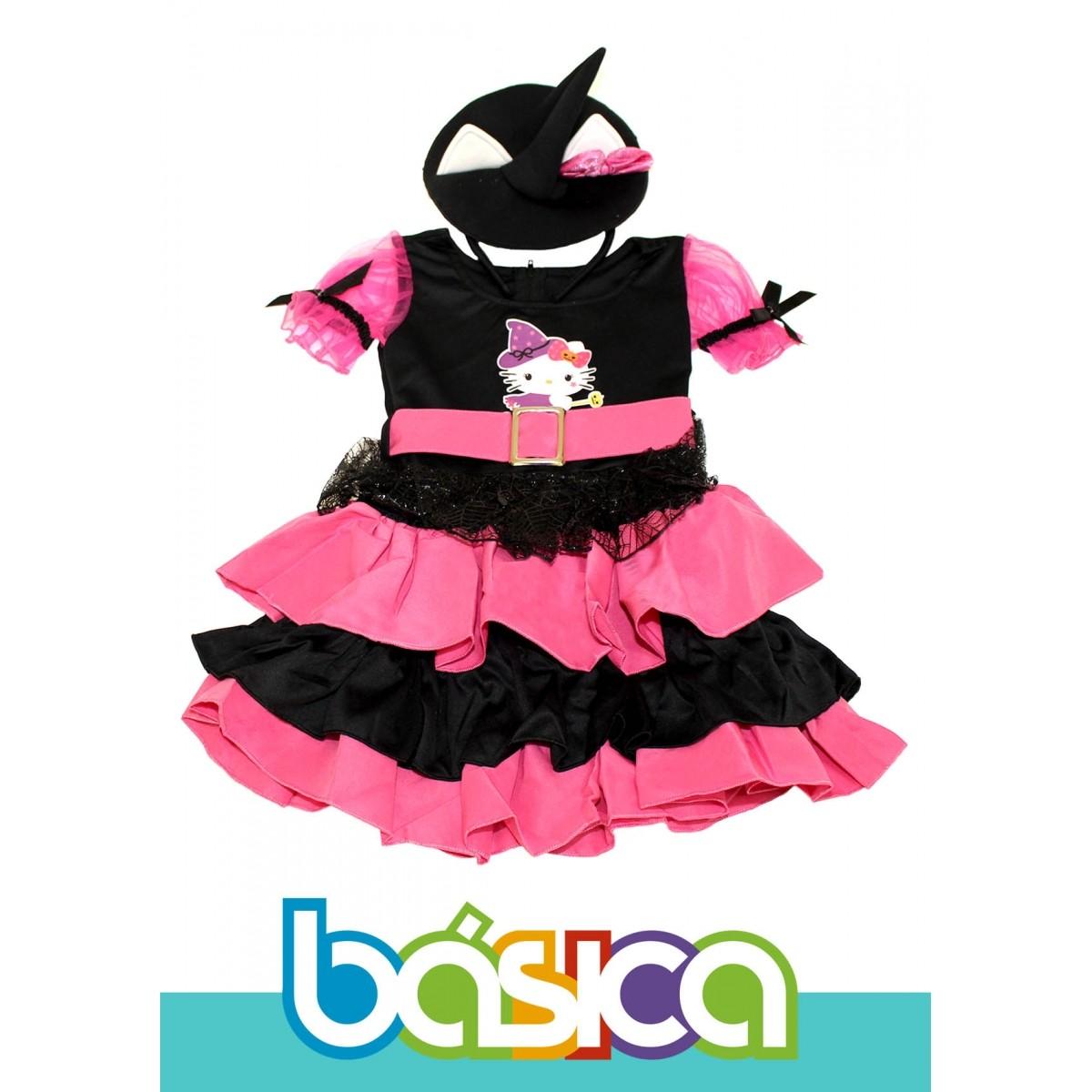 Fantasia de Bruxa Hello Kitty Infantil Preto com Rosa e Chapéu de Bruxa  - BÁSICA UNIFORMES