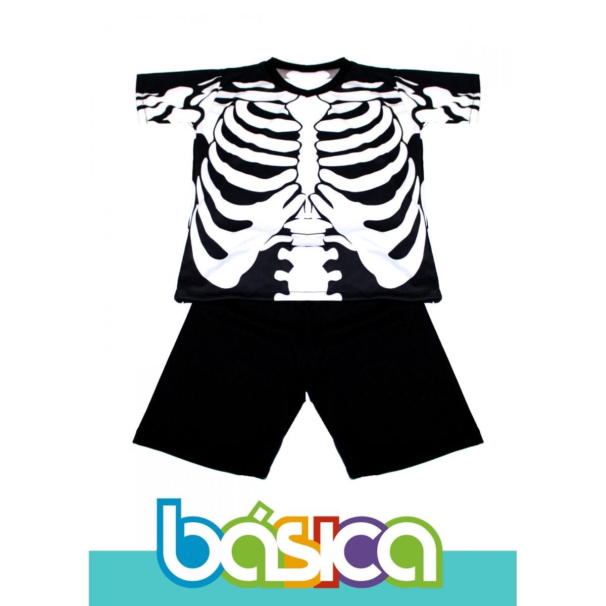 Fantasia de Caveira com Shorts Infantil  - BÁSICA UNIFORMES