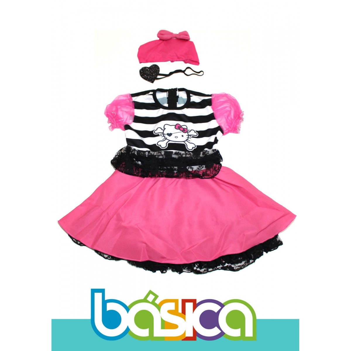 Fantasia de Pirata Hello Kitty Infantil Preto com Rosa, Bandana e Tapa Olho  - BÁSICA UNIFORMES