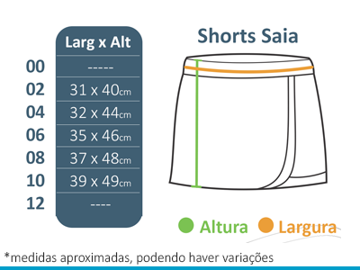 Shorts Saia A Doce Vida  - BÁSICA UNIFORMES