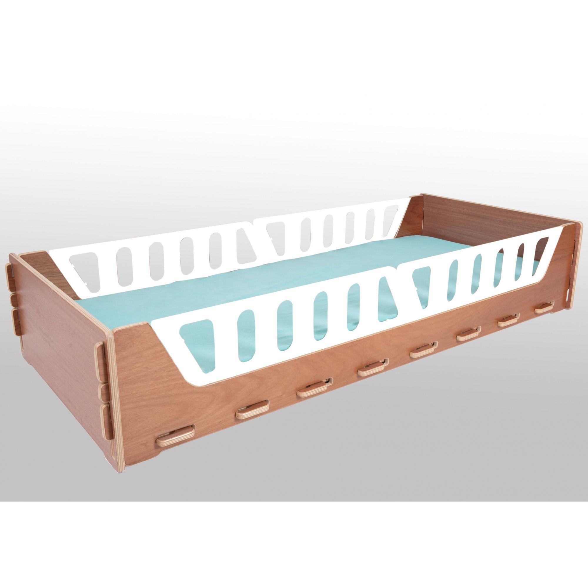 Cama e Mini Cama Girassol 2 Coleção Nature (Jequitibá/Marfim) PLUS + Kit para ter grades na posição alta