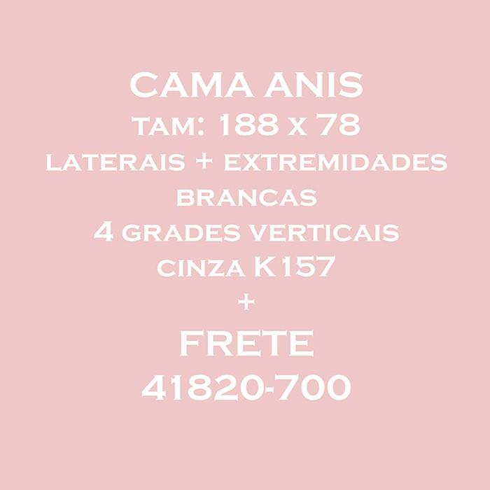 LINK CAMA ANIS 78 - BRANCA - 4 GRADES VERTICAIS CINZAS