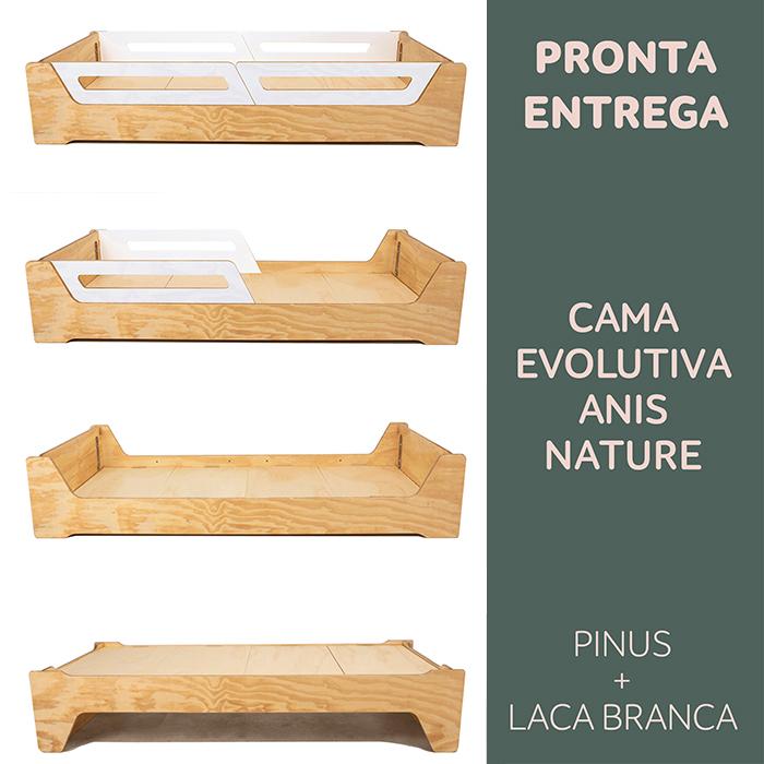 PRONTA ENTREGA: CAMA EVOLUTIVA ANIS NATURE -  PINUS:  TAMANHO SOLTEIRO PADRÃO - PARA COLCHÃO: 78cmx188cm