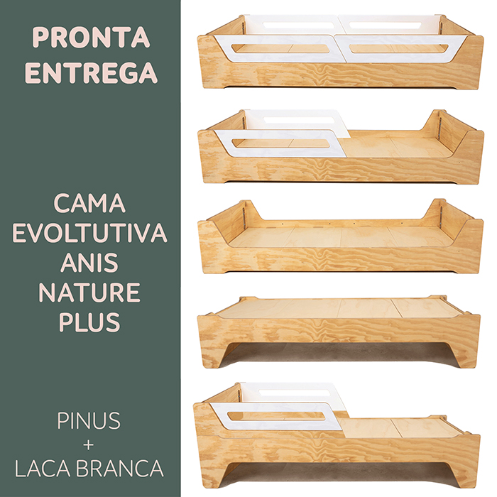 PRONTA ENTREGA: CAMA EVOLUTIVA ANIS NATURE PLUS-  PINUS:  TAMANHO SOLTEIRO PADRÃO - PARA COLCHÃO: 78cmx188cm