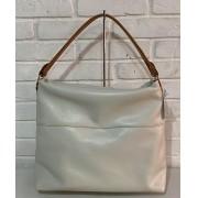 Bolsa Prata Couro 1010878 White/Conhaque
