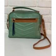 Bolsa Prata Couro Transversal 1010841 Verde Alga/Caramelo