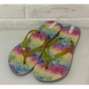 Chinelo Feminino Prata Couro 1011071 Tie Dye Amarelo