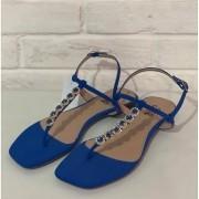 Chinelo Rasteira Prata Couro 1010699 Azul