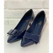Sapato Feminino Prata Couro 2224 Azul Marinho