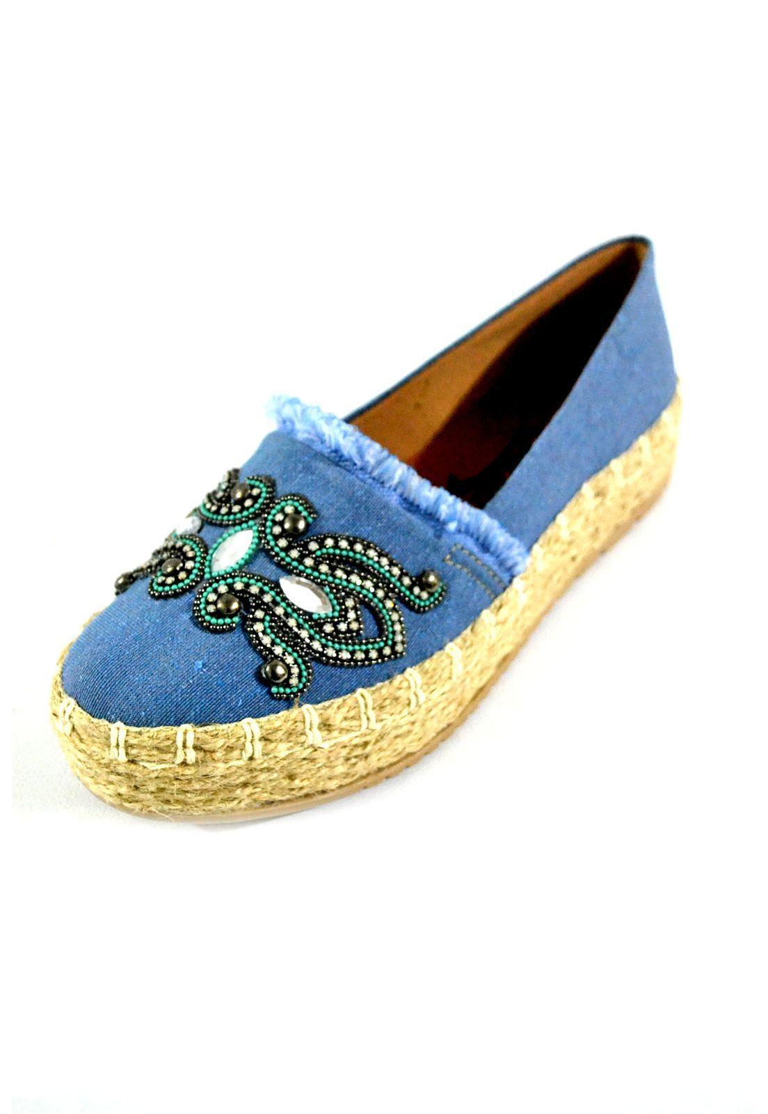 Alpargata Feminino   Prata Couro 1009904  Lona Blue
