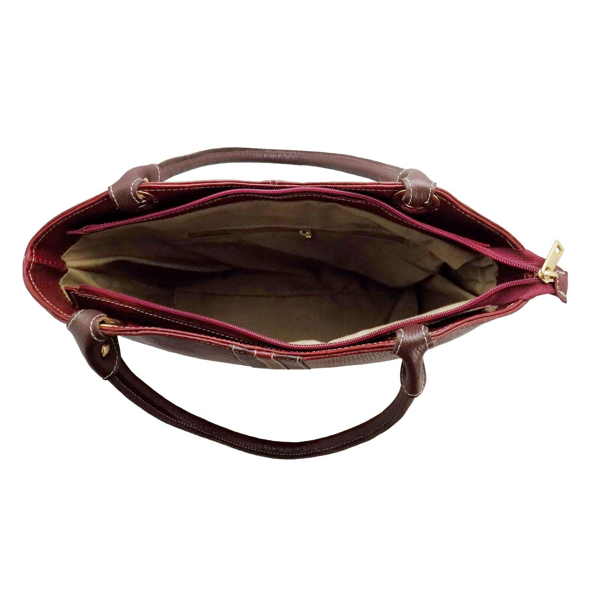 Bolsa Prata Couro 1009315  Croco Vermelho