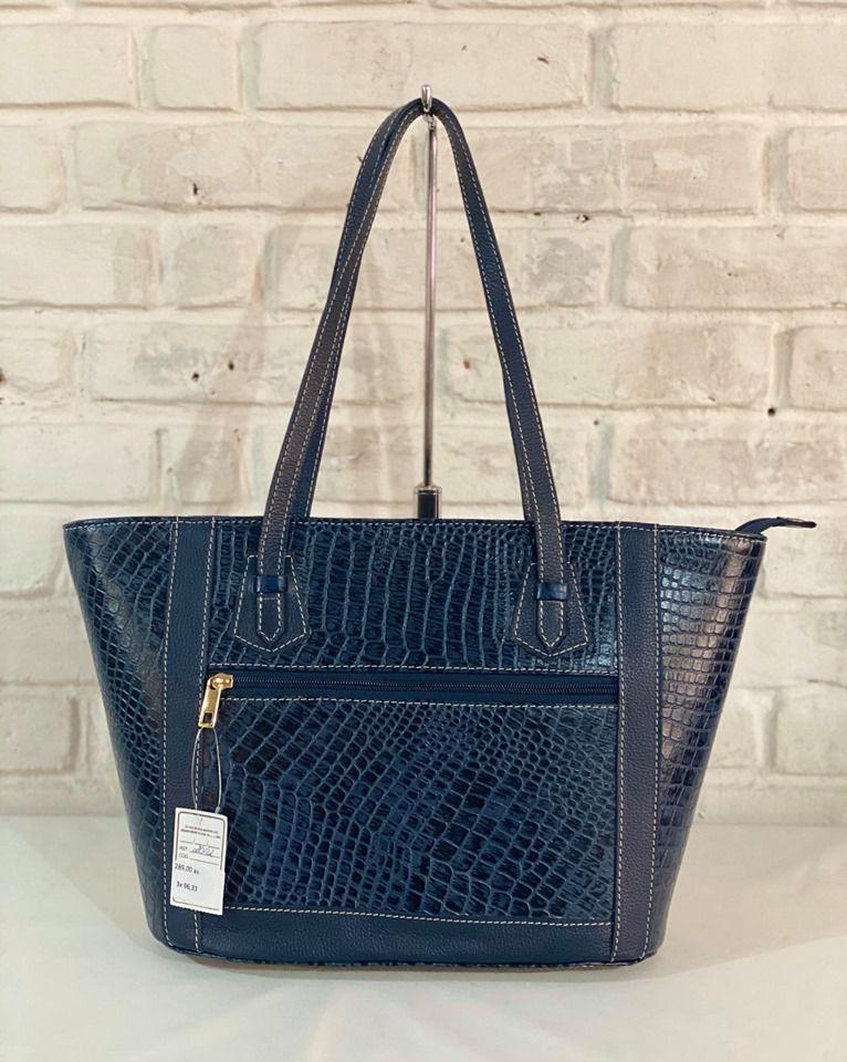 Bolsa Prata Couro 1009757 Croco Azul