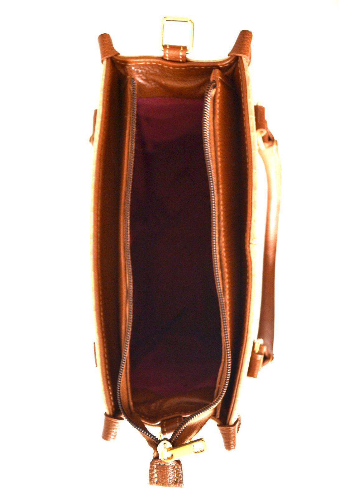 Bolsa Prata Couro 1010132  Croco Marfim/Caramelo