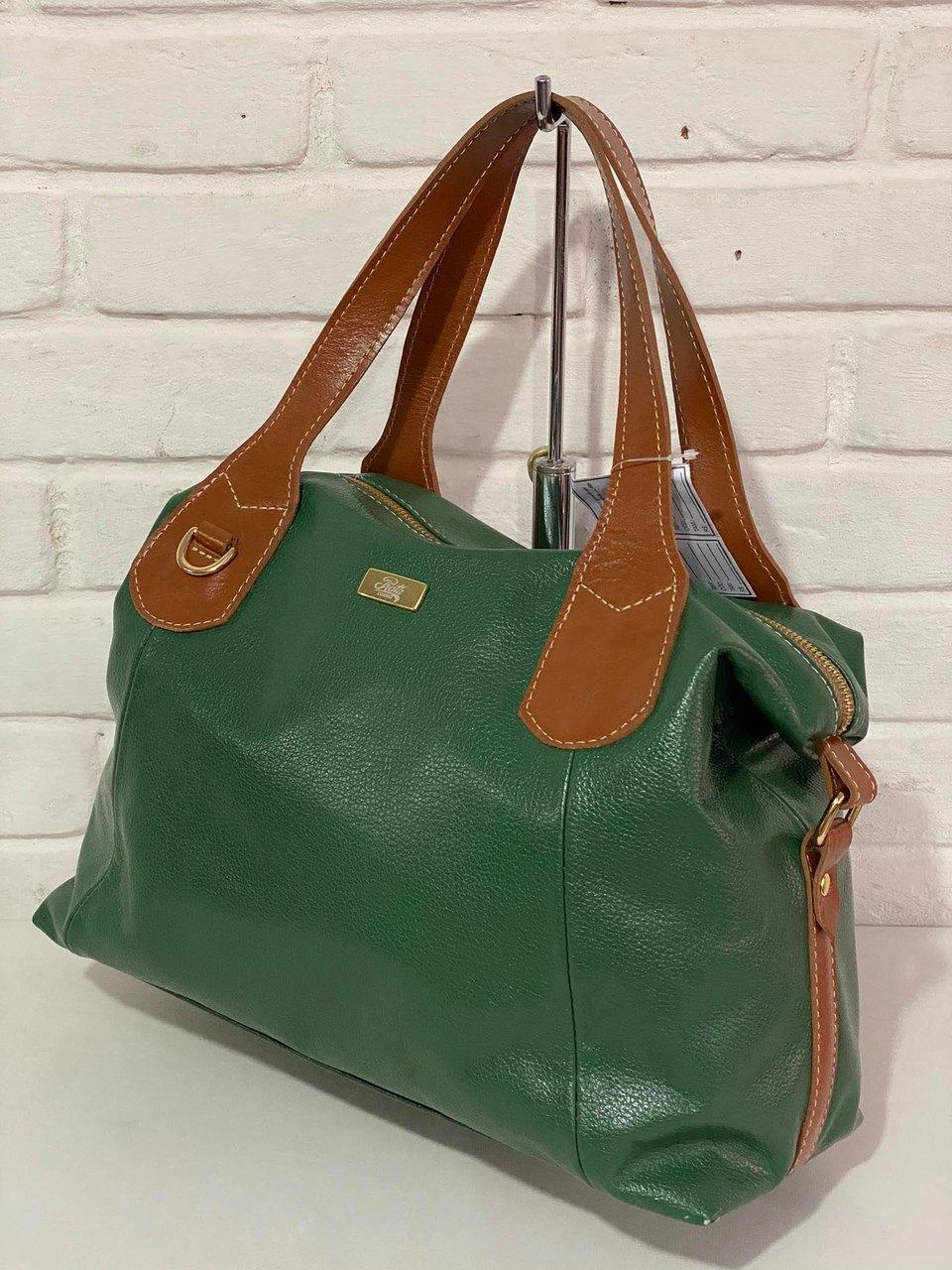 Bolsa Prata Couro 1010284 Verde/Conhaque