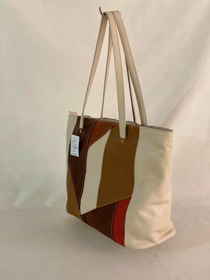 Bolsa Prata Couro 1010483 Marfim/Colorida em Couro