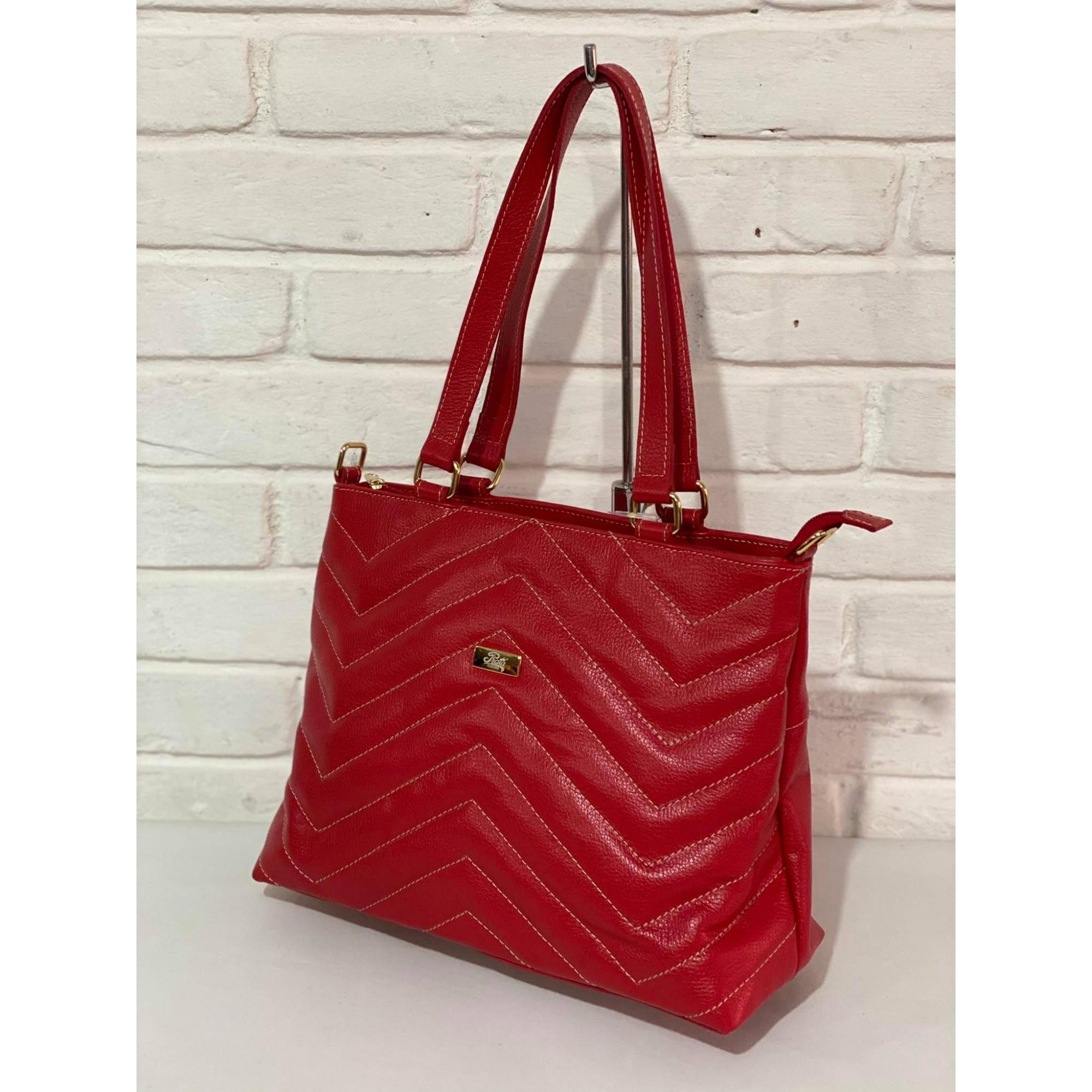 Bolsa Prata Couro 1010833 Vermelha