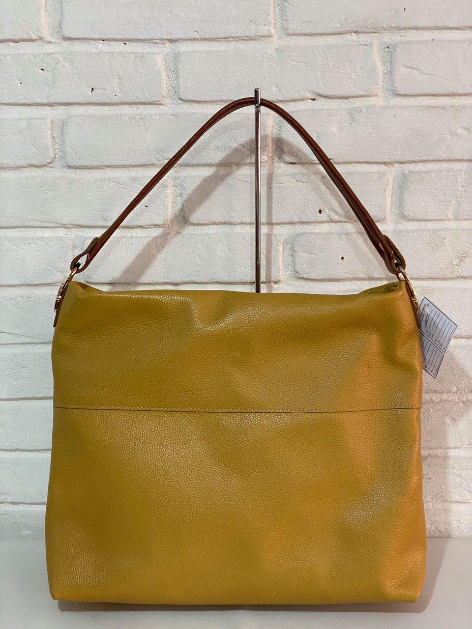 Bolsa Prata Couro 1010878 Amarela/Conhaque