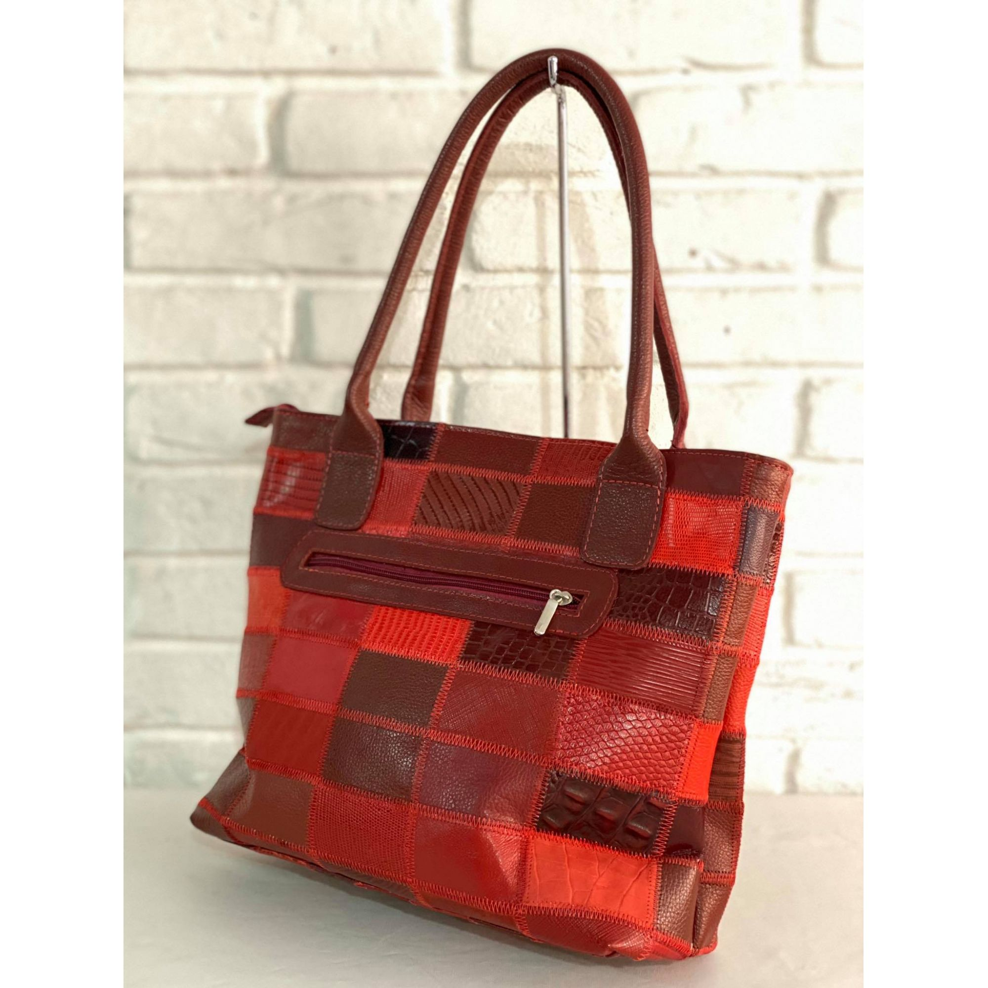 Bolsa Prata Couro Patchwork 1009463 Patchwork Vermelha