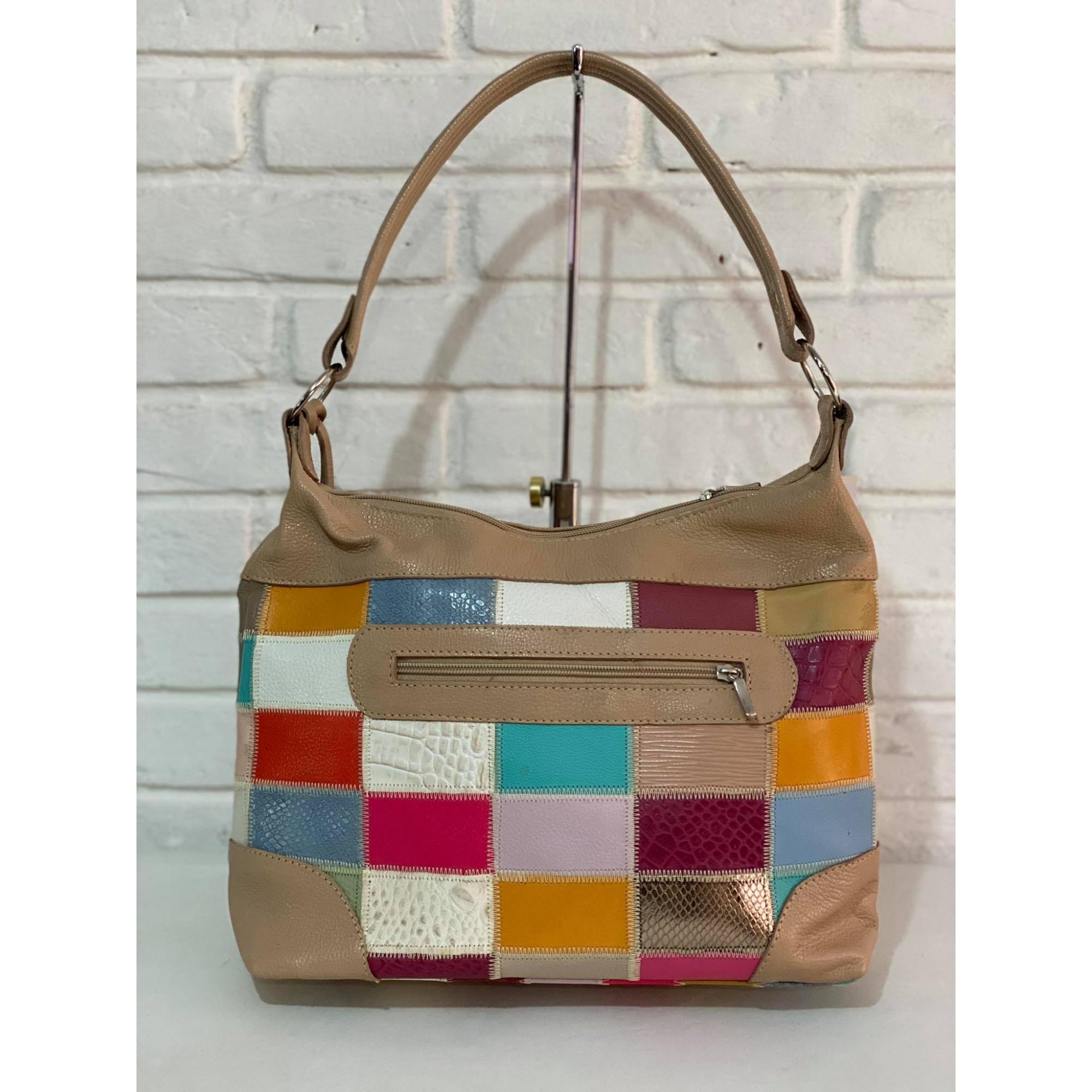 Bolsa Prata Couro Patchwork 1010608 Bege/Colorida