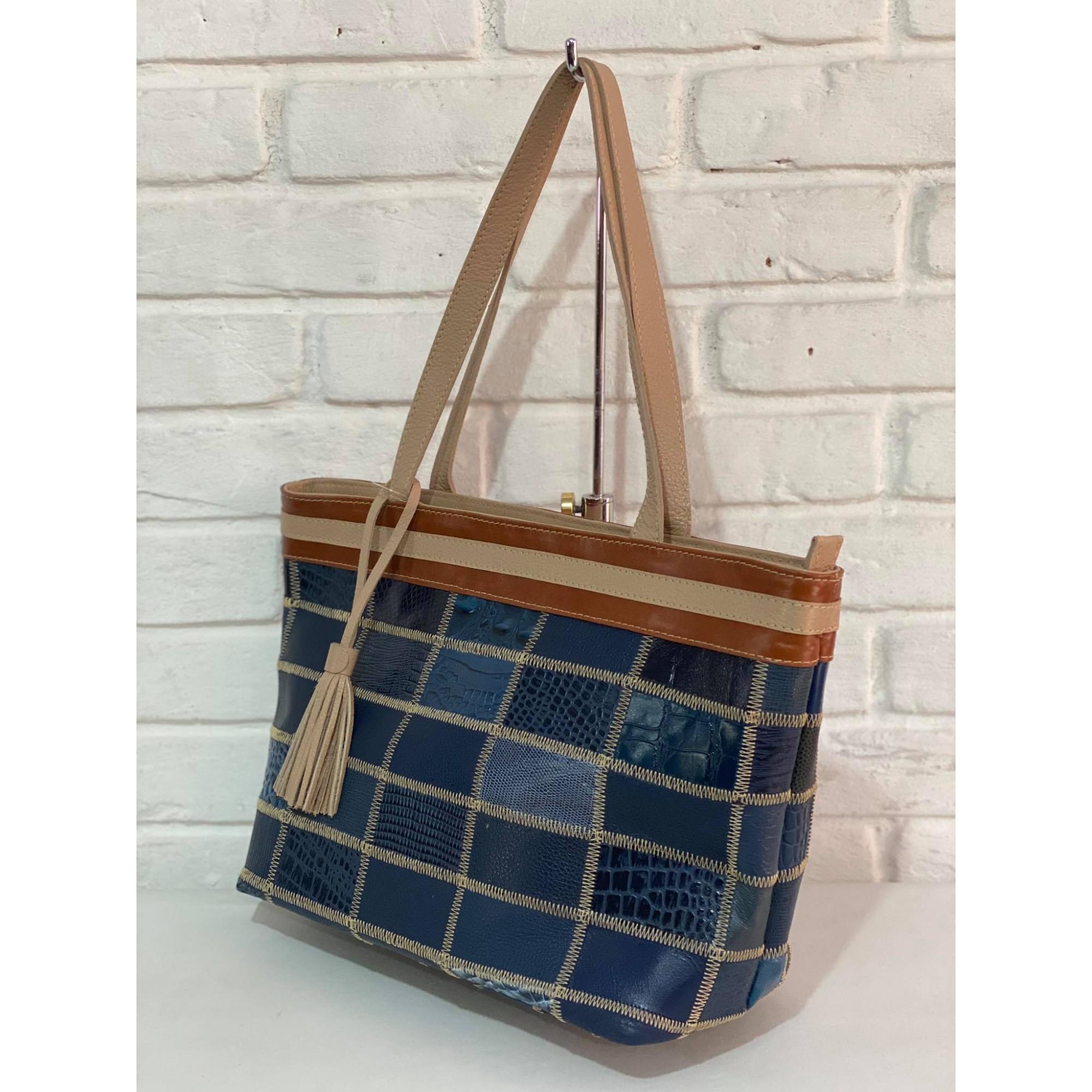 Bolsa Prata Couro Patchwork 1010616 Azul/Marrom