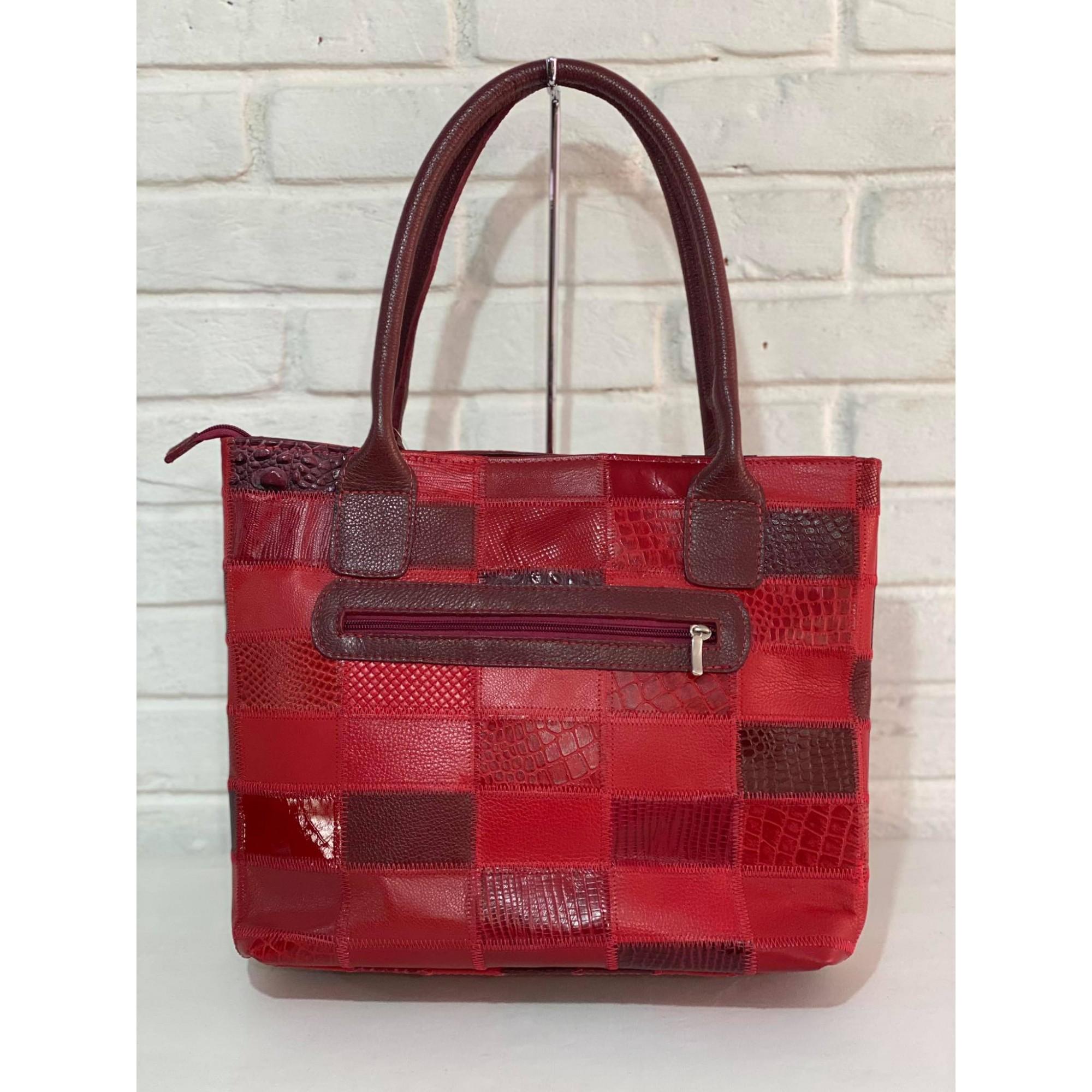 Bolsa Prata Couro Patchwork 1010621 Vermelha