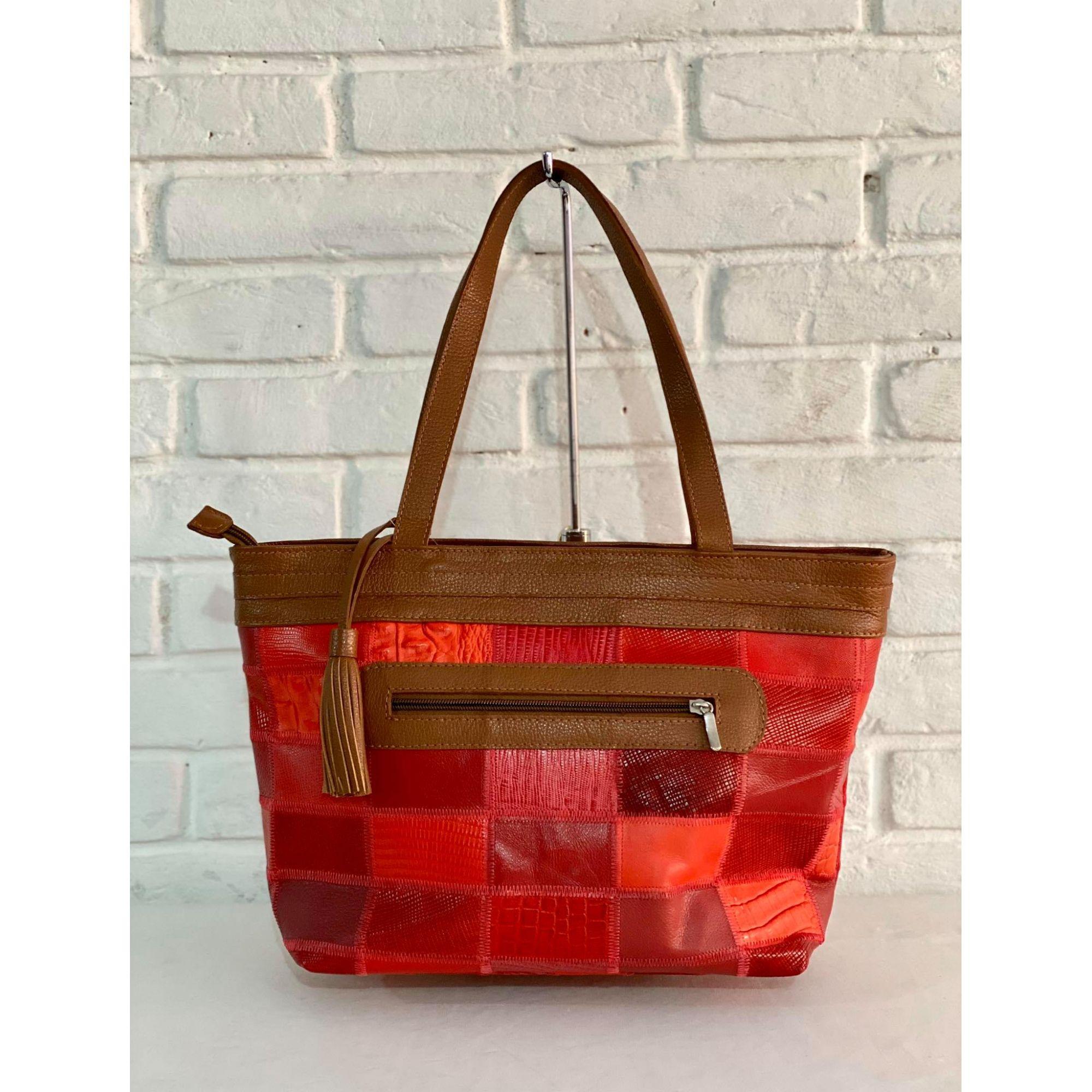 Bolsa Prata Couro Patchwork 3485 Vermelha