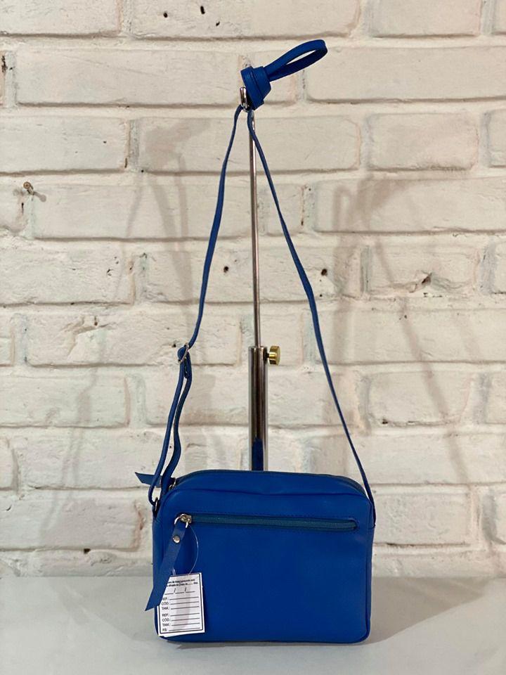 Bolsa Prata Couro Transversal 1010488 Azul