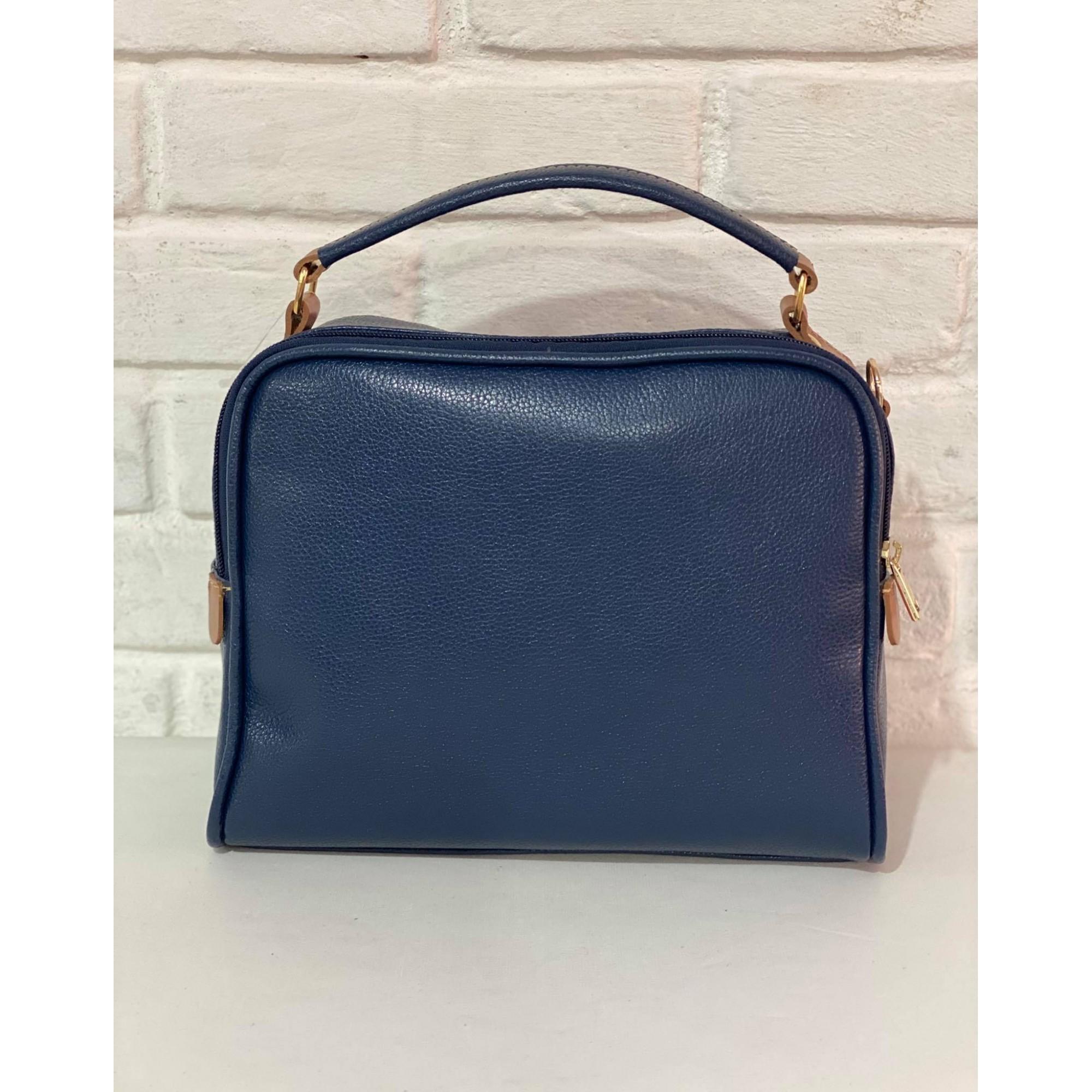 Bolsa Prata Couro Transversal 1010840 Azul
