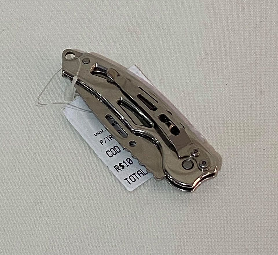 Canivete Prata Couro 1623 Inox