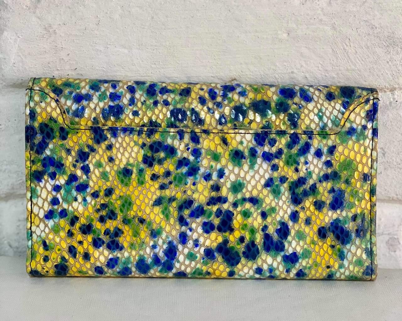 Carteira Feminina 3407 Colorida Azul/Verde/Amarela