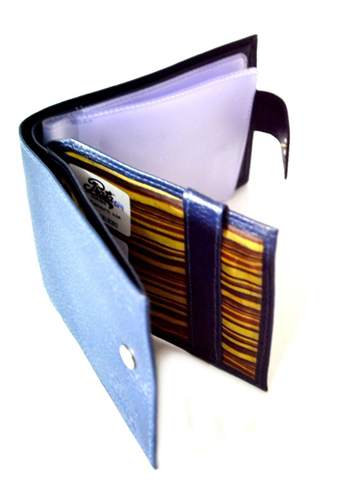 Carteira Prata Couro 1010382 Azul Marinho