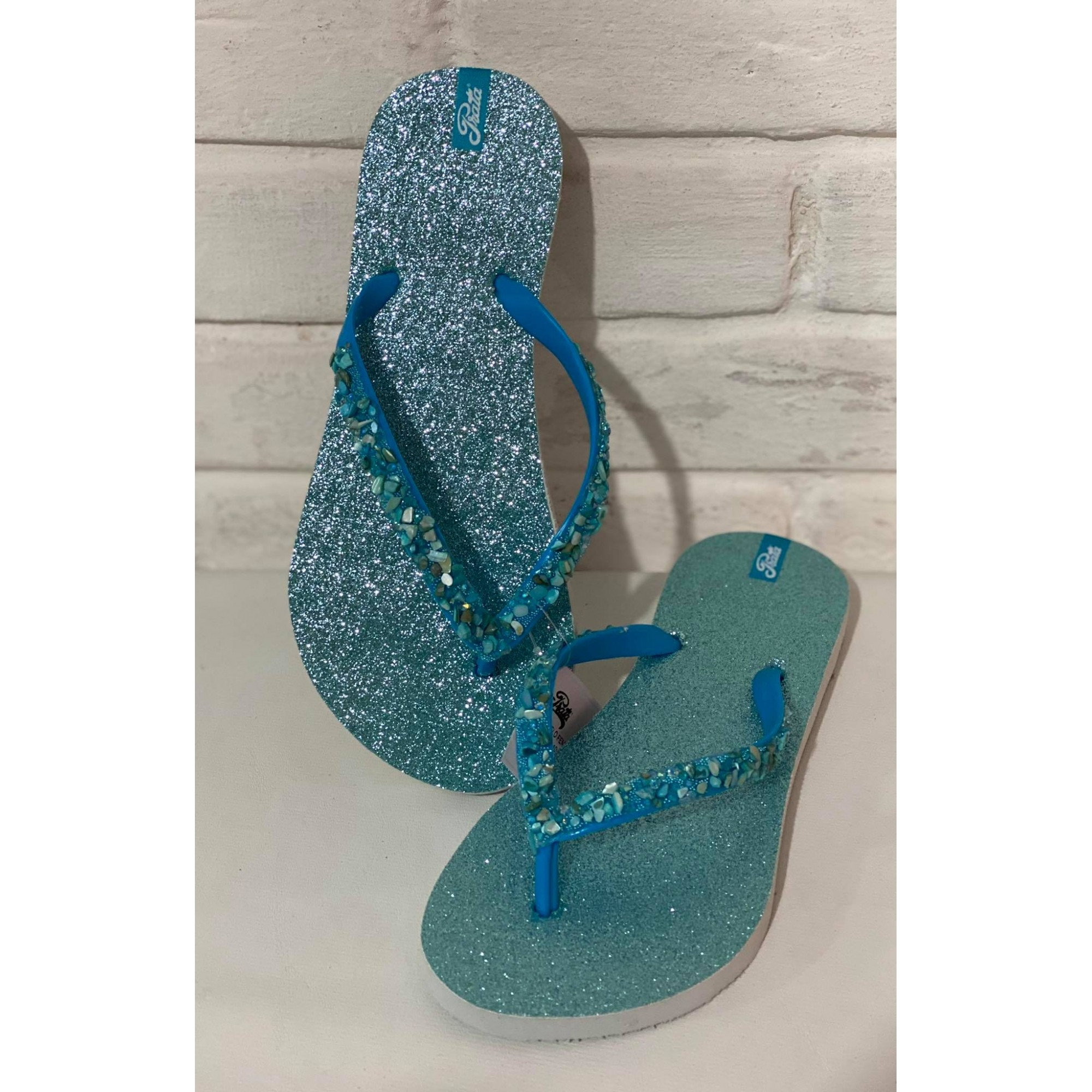 Chinelo Feminino Prata Couro 1010959 Azul