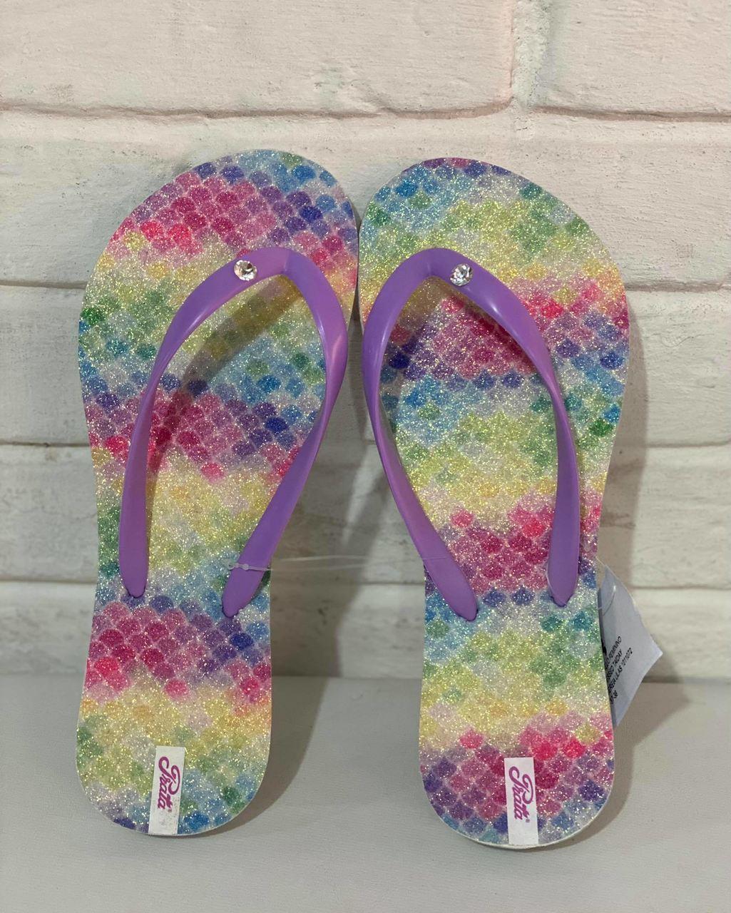Chinelo Feminino Prata Couro 1011072 Tie Dye Lilás