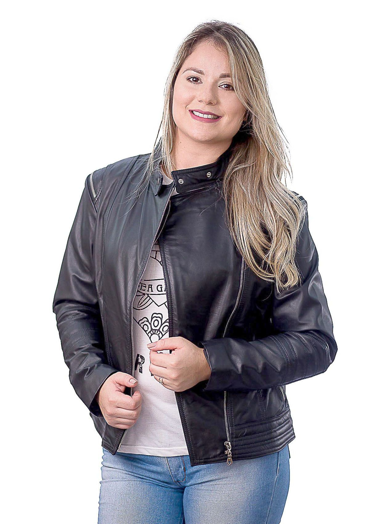 Jaqueta Feminina 200 Prata Couro Preto