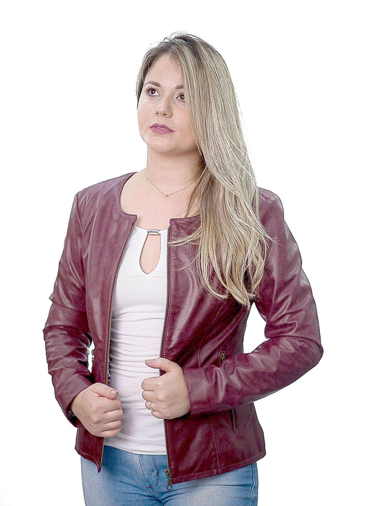 Jaqueta Feminina em Couro 210 Marsala
