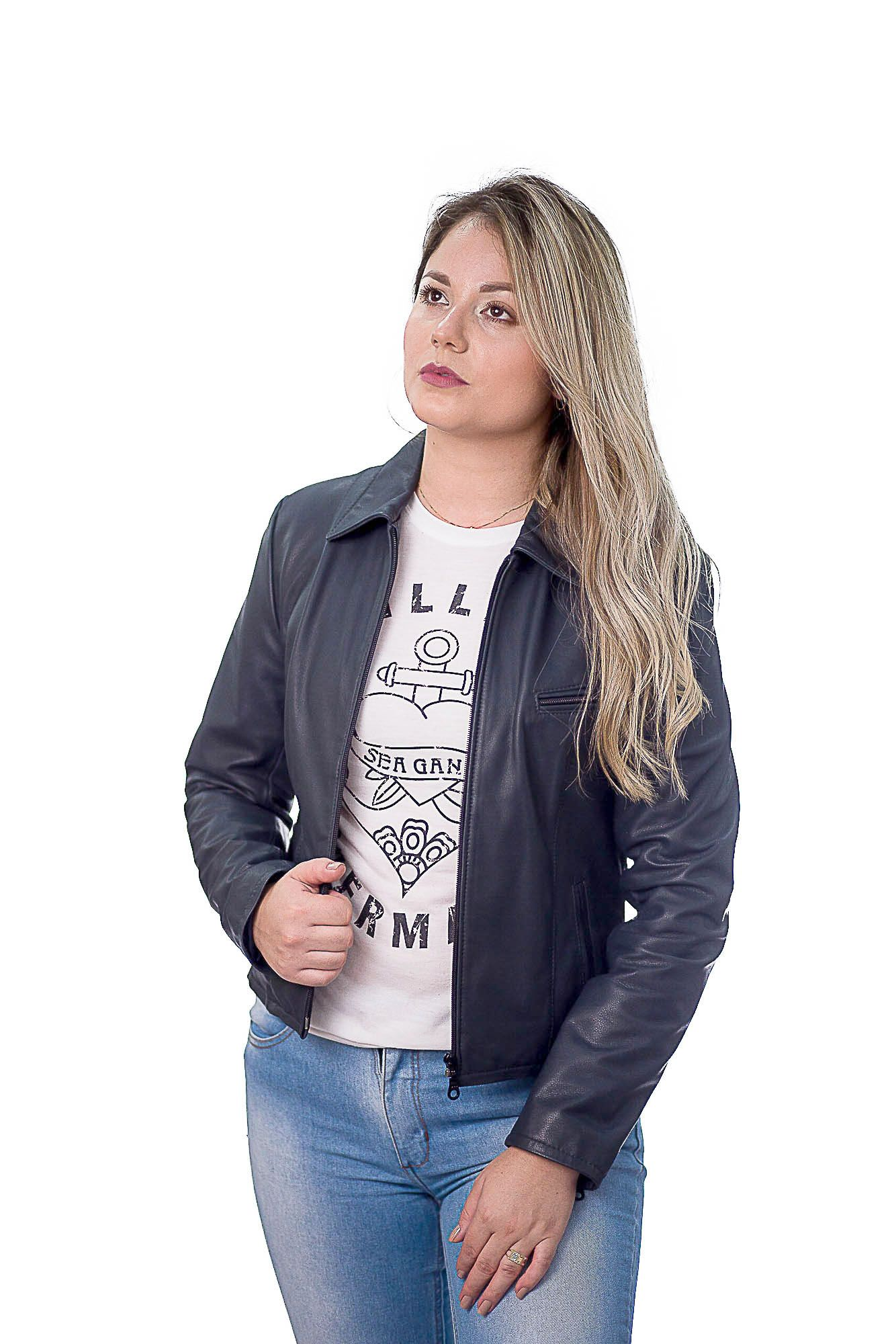 Jaqueta Feminina em Couro 9020 Ranger Marinho