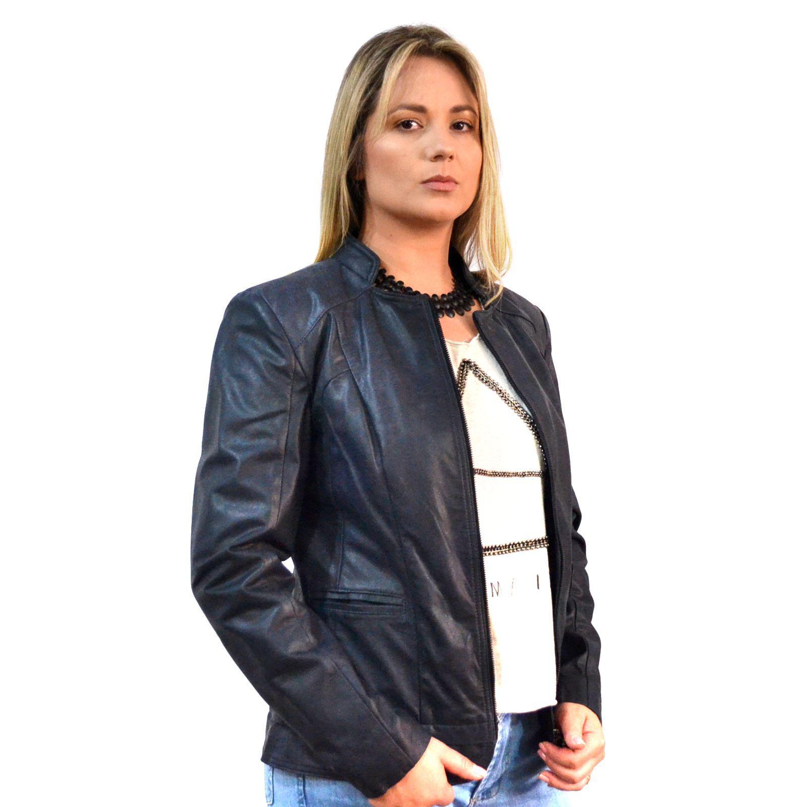 Jaqueta Feminina Prata Couro 215 Ranger Marinho