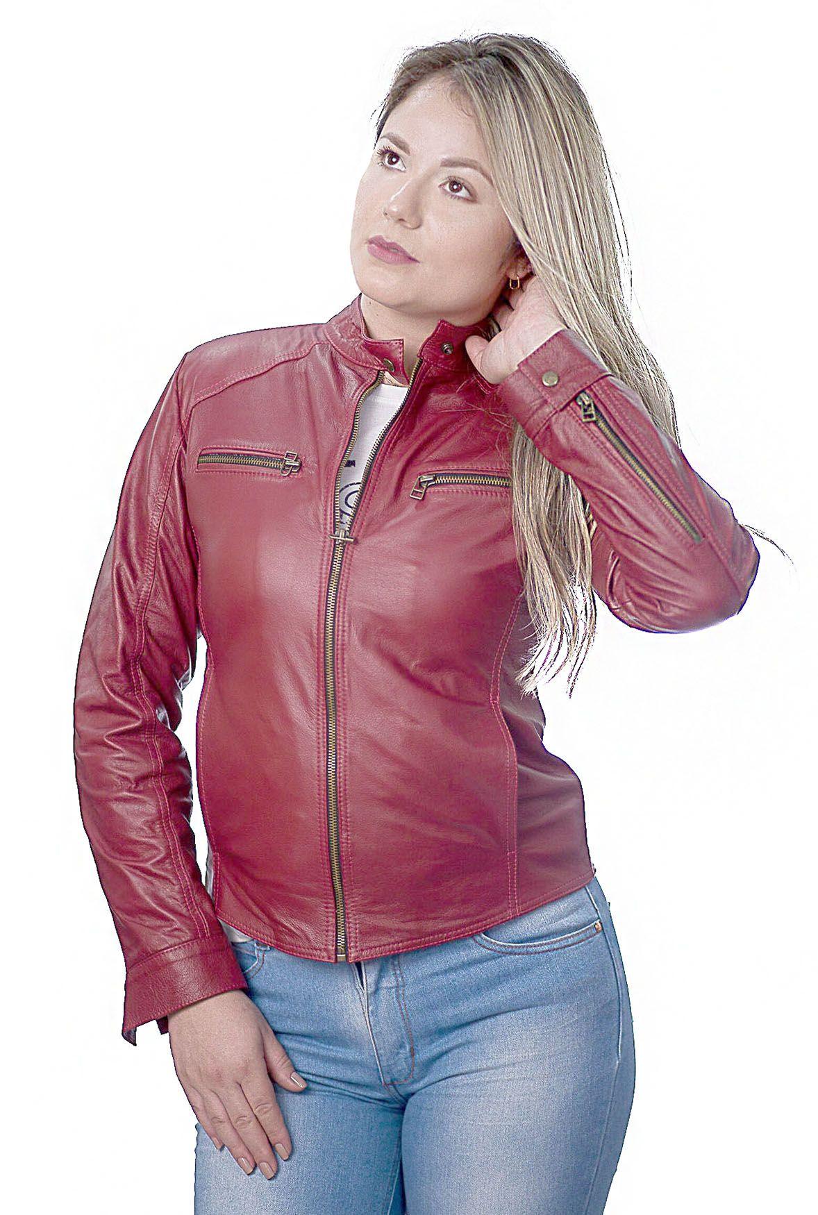 Jaqueta Feminina Prata Couro 107 Vermelha