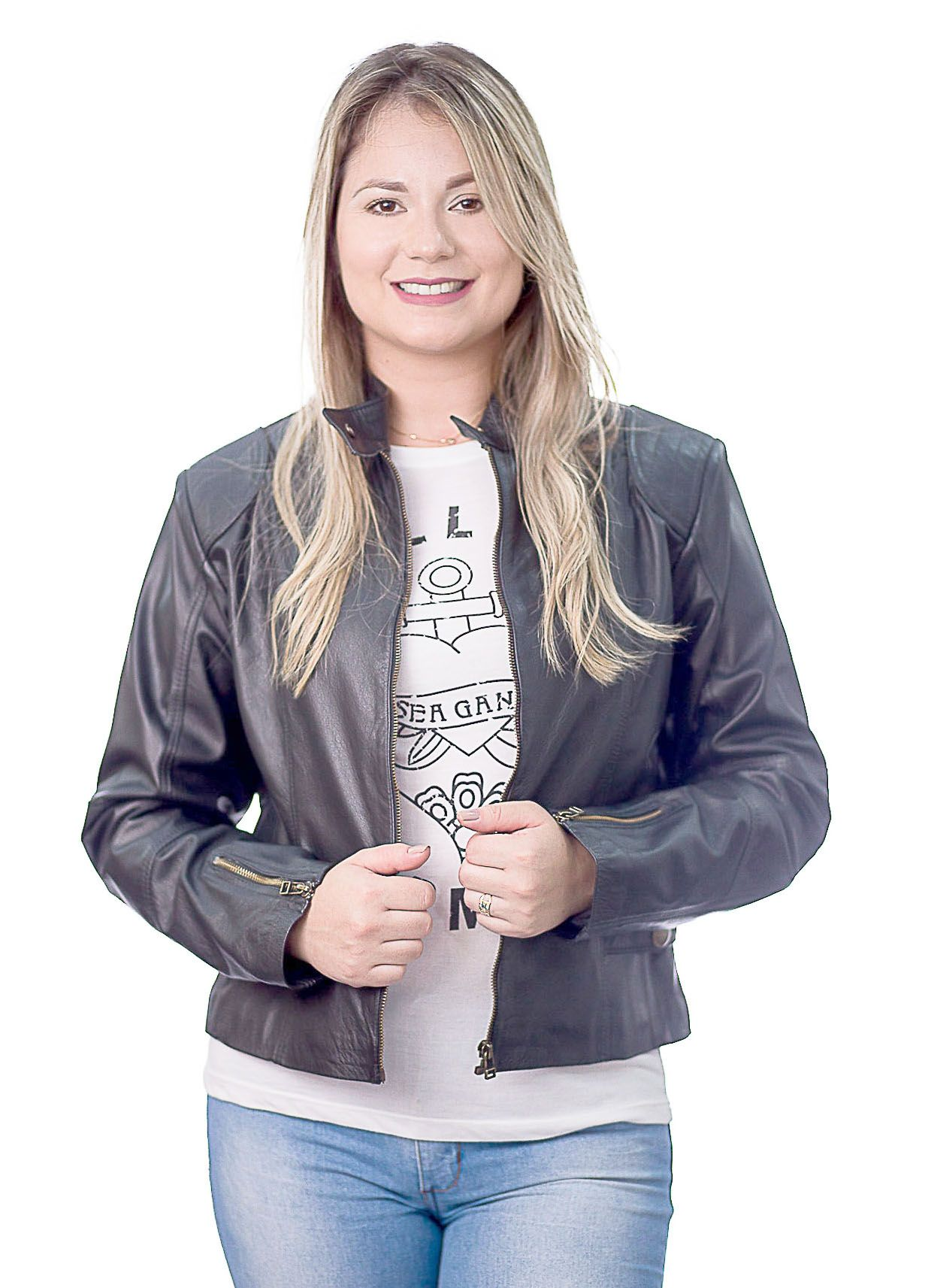 Jaqueta Feminina Prata Couro 111 Preta