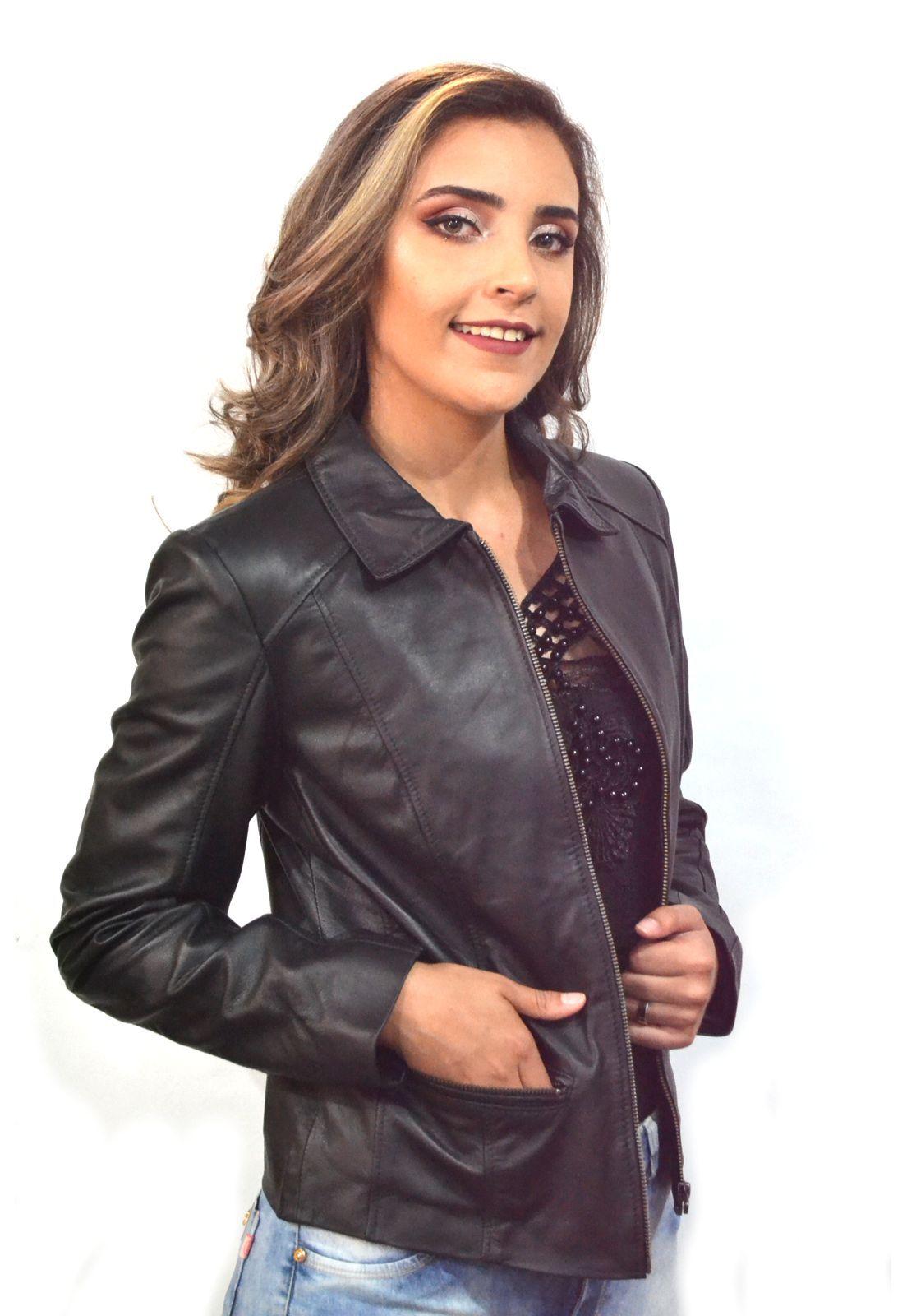 Jaqueta Feminina Prata Couro 224 Pelica Preta (Mestiço)