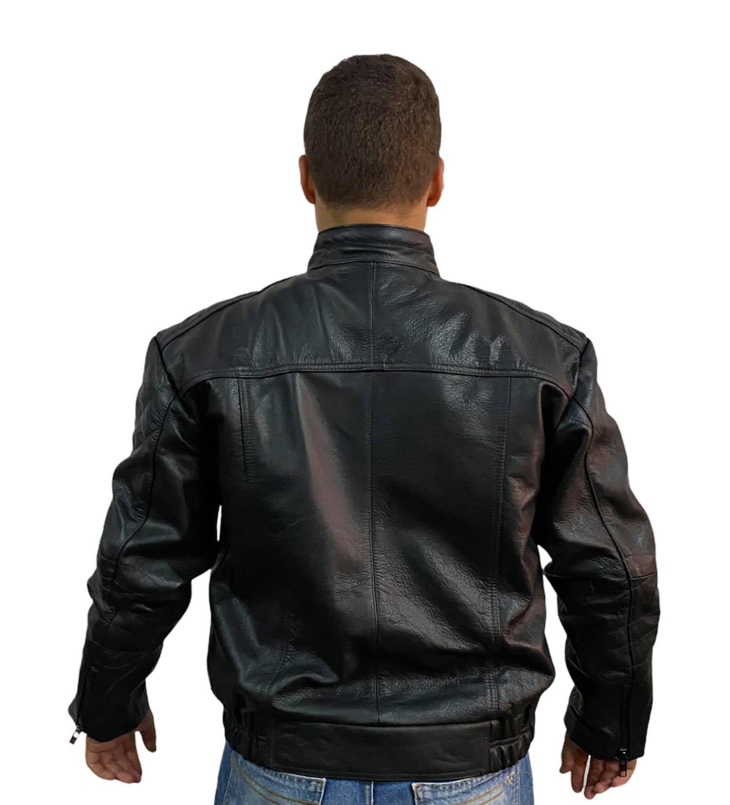 Jaqueta Masculina Prata Couro 354 Fênix Preta Motociclista