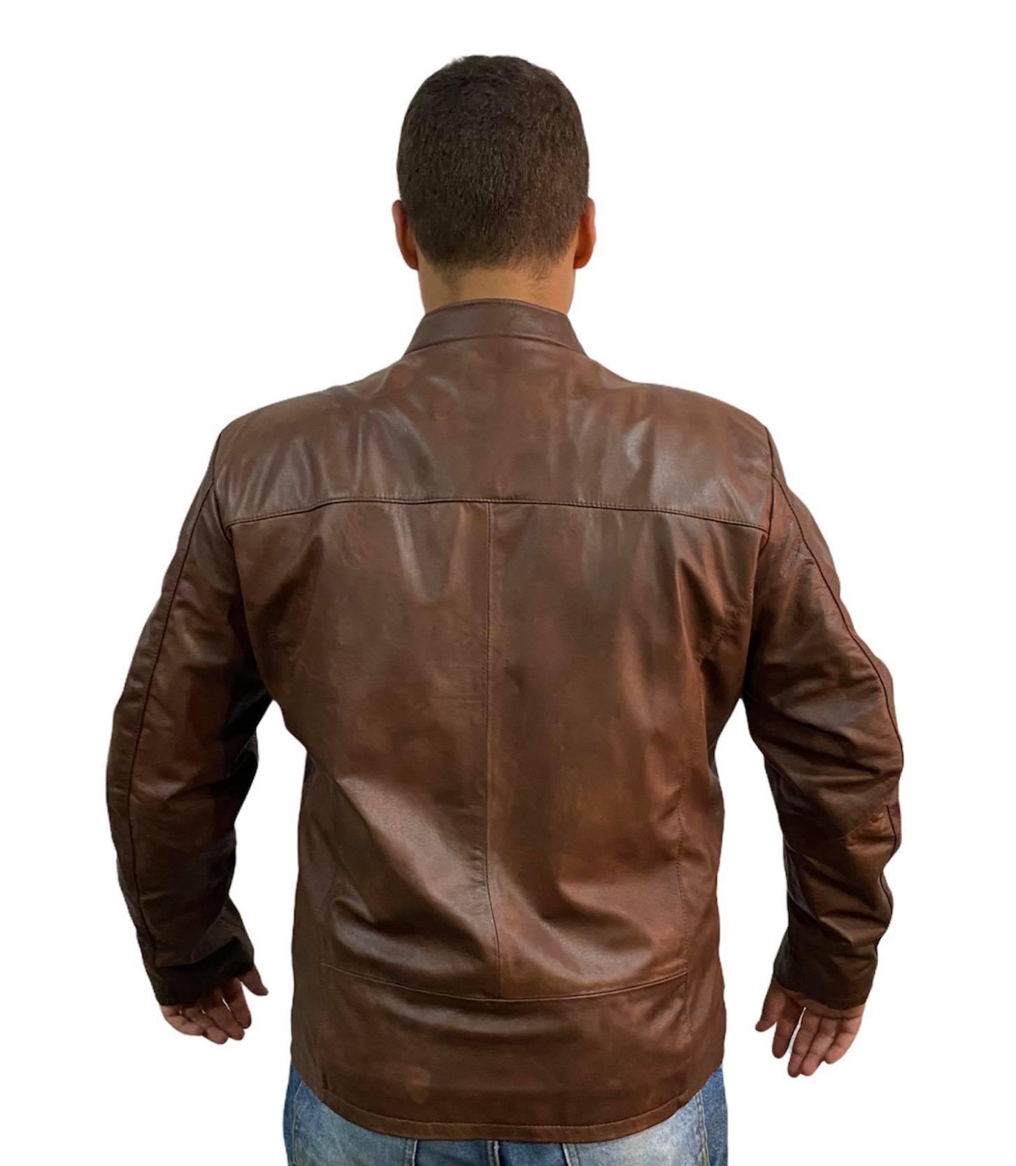Jaqueta Caban Masculina Prata Couro 127 Ranger Manchada Plus Size
